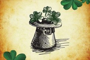 Saint Patrick's Day graphic with a leprechauns hat full of shamrocks.