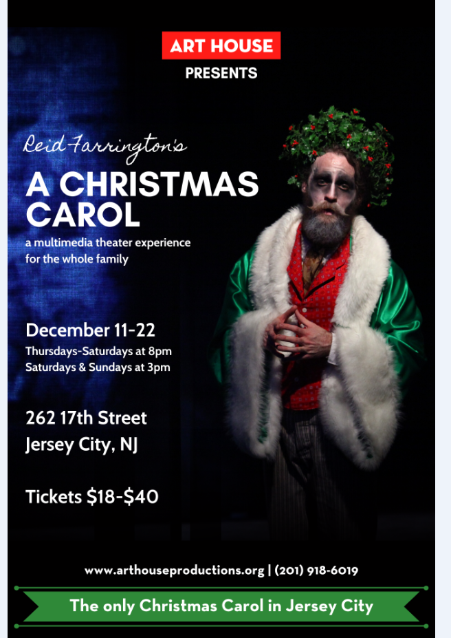 The Christmas Carol event flyer for Art House Productions December 11th-22nd 2019.